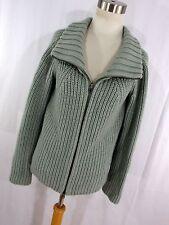 Armani Exchange S small cardigan gray zip up zipper front collar merino wool H6