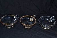 3 coupes coupelles cristal glace saint louis baccarat daum or doré