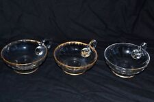 3 coupes coupelles cristal glace saint louis baccarat daum or doré