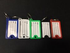 10PCS Plastic Luggage ID Label Key Tags Keychains Key Chain Fobs Ring Name Card