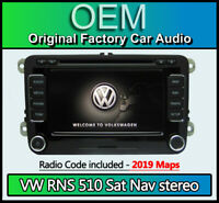 VW RNS 510 sat nav stereo, VW Golf MK6 Navigation CD DVD radio + code 2019 MAPS