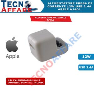 Alimentatore Originale Apple Carica Veloce 12W USB 2.4A Iphone Ipad A1401