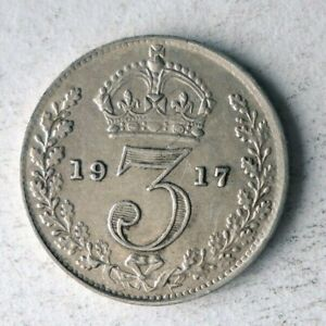 1917 GREAT BRITAIN 3 PENCE - AU - High Quality Silver Coin - Lot #A12