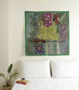 """40"""" Green Indian Vintage Beaded Tapestry Square Embroidered Wall Decor Hanging"""