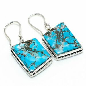 """Tibetan Turquoise Gemstone Gift 925 Sterling Silver Jewelry Earring 1.54 """" H511"""