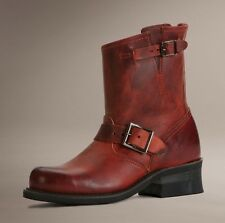 FRYE SHOES ENGINEER 8R BOOTS BURNT RED LEATHER 7 WOMEN'S NEW 77500 NIB PULL ON