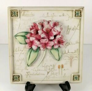 Marks And Spencer Hand Painted Wall Plaques with Pink Rhodadendron Flowers