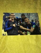 Griezmann Mbappé Pogba Photo Dedicace Autograph Football France Champions
