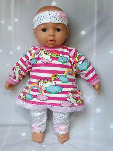 Puppen Sachen Set Kleid Hose Puppenkleidung Bekleidung Re born Baby 43- 47 (35)