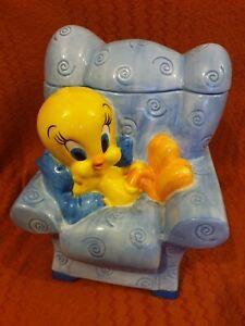 Tweety 1999 Cookie Jar Warner Bros Studio Store Sitting  Blue Large