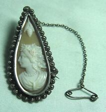 Pin w Safety Chain 6.5 grams Test Silver Real Shell Tear Drop Cameo