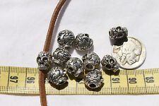 Skull Halloween beads 9.5mm wide x 11.5mm long Alloy Metal Antique Silver 10pc