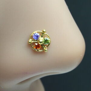 Indian Nose ring Multi-color CZ studded gold plated corkscrew piercing nose stud
