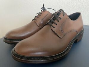Brooks Brothers Leather Derby Blouchers Cognac Brown Goodyear Welt Italy 8.5D