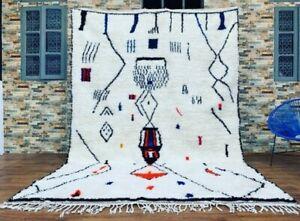 Authentic Vintage Beni Ourain Carpet Moroccan Barbarian Rug Handmade 250 * 150cm