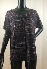 J. Jill Purple Abstract Design Stretch Short Sleeve Top Size Large