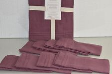 NEW Williams Sonoma 8 NAPKINS & Table RUNNER Pleated Edge Burgundy Mauve Linen
