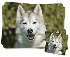 Siberian Husky Dog Twin 2x Placemats+2x Coasters Set in Gift Box, AD-H1PC