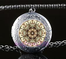 Gold Mandala Cabochon Glass Tibet Silver Chain Locket Pendant Necklace