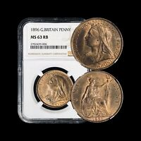 1896 Great Britain Penny - NGC MS63 - Victorian Era