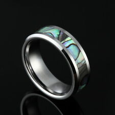 6mm 8mm Women & Men's Abalone Shell Tungsten Carbide Rings Comfort Fit Wedding