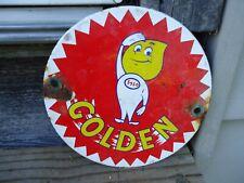 VINTAGE OLD 1950S ESSO GOLDEN GASOLINE PORCELAIN GAS PUMP ADVERTISING DOOR SIGN