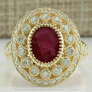 2.49CT Oval cut Red Ruby New Vintage Women's Engagement Ring 14K Rose Gold Over