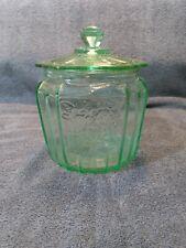 Vintage Green Depression Glass Cookie Jar Floral Pattern