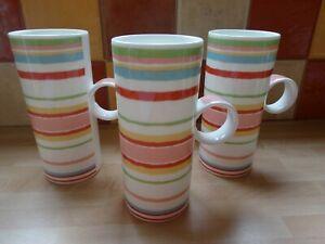 3 x Vintage Laura Ashley Latte Mugs  - Seaside Stripe