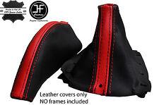 Red Stripe y Negro Cuero Polaina gear de freno de mano se adapta Mazda MX5 MK1 89-97