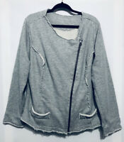 Soft Surroundings Womens Plus Size 1X Gray Zip Moto Jacket Sweatshirt Raw Hem