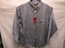 NWT Izod Big Tall Mens 3XLT Blue White Stripe LS BD Collar Shirt $60 MSRP NWT