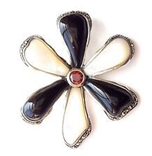 ONYX & MOTHER-of-PEARL Flower Petals PENDANT Marcasite .925 STERLING SILVER