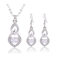 Silver Plated Jewellery Set Drop Earrings Pear Necklace Bridal Wedding S878