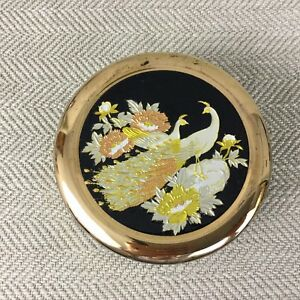 Chokin Japanese Trinket Box Black Gold Porcelain Vintage Peacock Bird