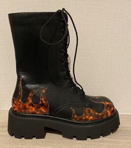 Truffle Flame Black Biker Lace Up Boots Size 7 40 BNWOB