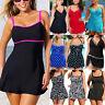 Plus Size Womens Swimsuit Skirt Swimwear Swim Dress Tankini Beachwear Bathing US