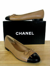 CHANEL Classic CC Leather Ballerina Ballet Flats Shoes sz 39.5 It NIB