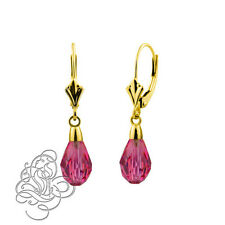 14k Yellow Gold 9x6mm ROSE Crystal Pear Drop Leverback Earrings
