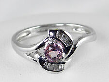 .34 CT Total Weight Genuine Diamond and Tourmaline Ring - 18KT White Gold