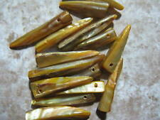 24 Mother of Pearl Shell Tan Shark Tooth Beads 215mm - 40mm