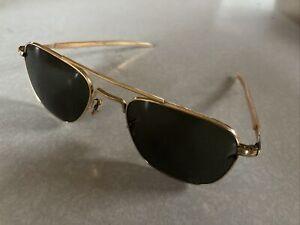 AO American Optical 5 1/2 Pilot Aviator Military Vtg Sunglasses 1/10 12K GF