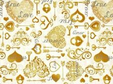 HEARTS & KEY FABRIC LOVE FOREVER & ALWAYS WEDDING I DO QUILTING TREASURES COTTON