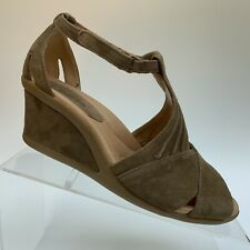Earth Curvet Wide Dark Khaki Suede Leather Wedge Peep Toe Sandal Shoe Women 7.5D