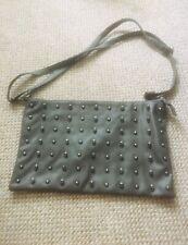 Faux Leather Grey Skull Detail Shoulder Handbag