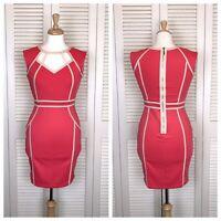 Little Mistress London Women's Size 6 Pink Cutout Sheath Dress Cream Sleeveless