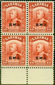 Sarawak 1945 10c Scarlet SG133 Very Fine MNH Block of 4