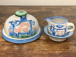 VTG M A Hadley 3 Piece Cow Stoneware Pottery Set! Butter Dish, Creamer, Bowl! 30