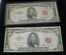 LOT OF Two Five Dollar $5 US Notes OLD Red Seal Bills 1953 & 1963 RARE CURRENCY