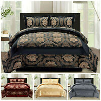 3 Piece Heavy Jacquard Quilted Bedspread Comforter Throw Set With 2 Pillow Cases